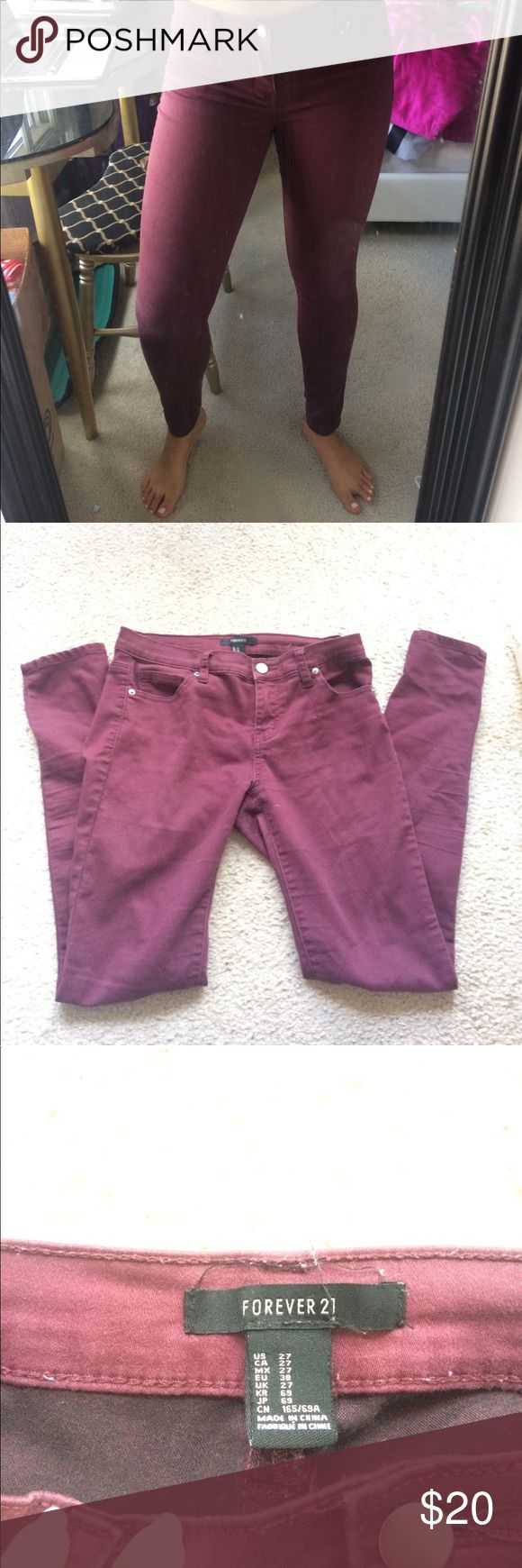 Dark wine 🍷 skinny jeans Burgundy/wine colored low-rise skinny jeans. Super stretchy and comfortable. Forever 21 Jeans Skinny