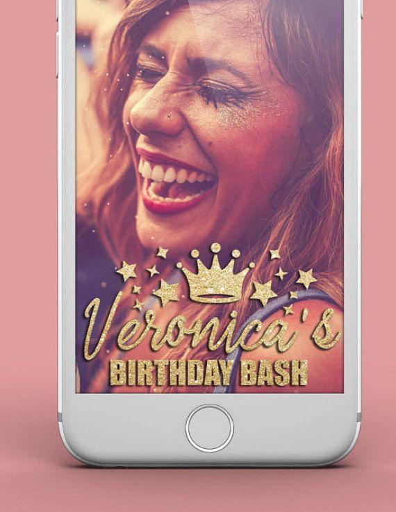 Custom Snapchat Birthday Geofilter  Gold by GeofilterDesigns