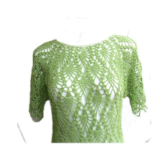 Crazy Pineapple lace light green hand crochet tunic by MyLaceSpace, $109.00