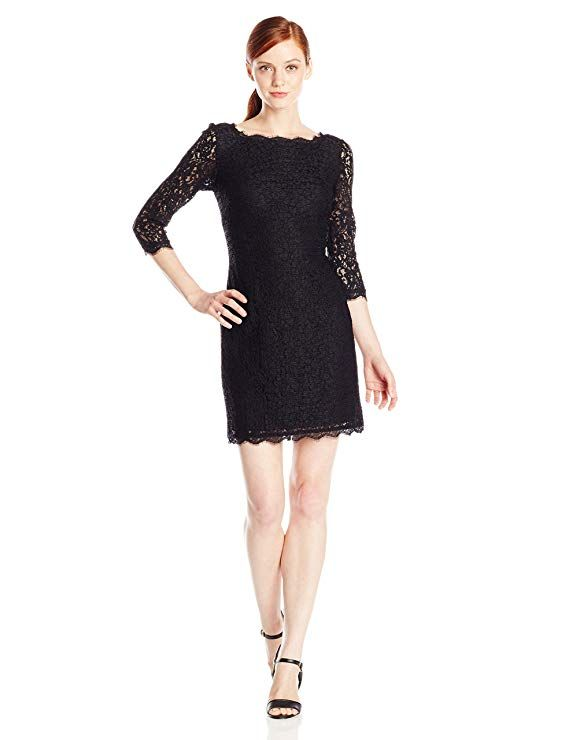 1f469e4a82ed Amazon.com: Adrianna Papell Women's Petite 3/4 Sleeve Lace Dress: Clothing