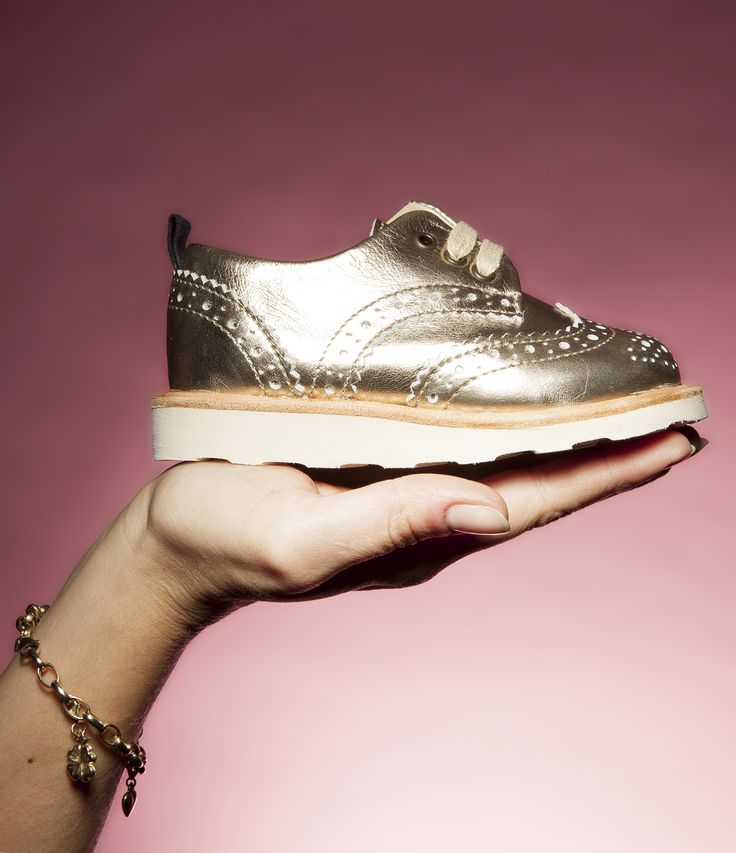 For your little one who wants to stand out - there's the Brando brogue by Young Soles in shiny gold