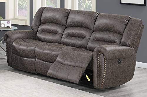 Modern Taupe Palomino Fabric Power Reclining Sofa With The Built