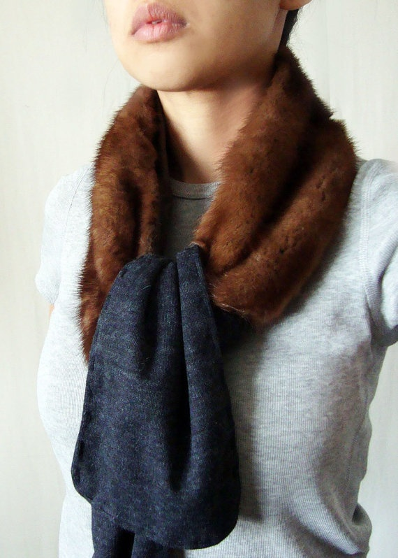 Mink Fur and Wool Scarf Brown Charcoal Grey by Mclovebuddy on Etsy, $120.00