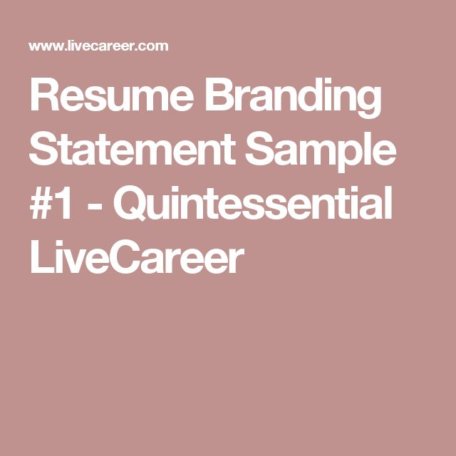 91 best Resumes images on Pinterest Resume, Job search and - resume branding statement examples