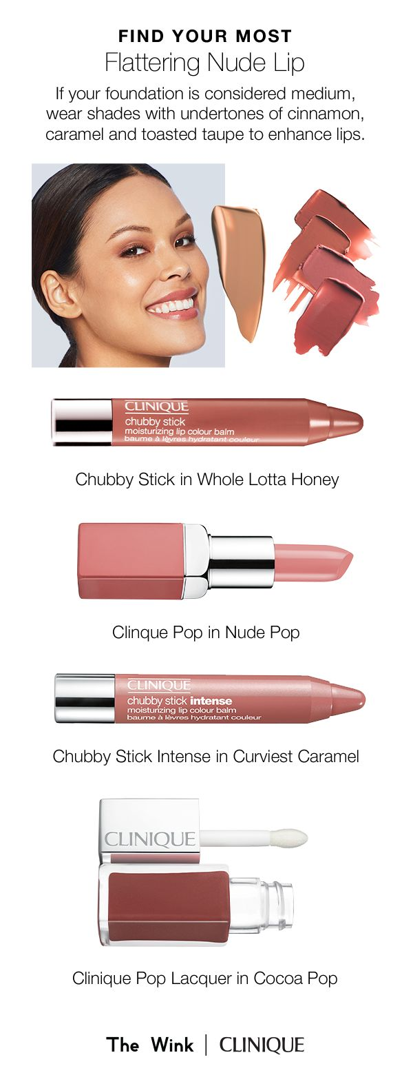 Find the perfect nude lipstick for your skin tone. If your foundation is considered medium, wear shades with undertones of cinnamon, caramel, and toasted taupe to enhance lips.