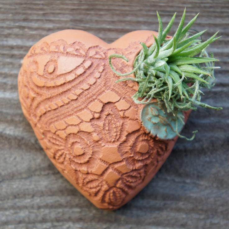 Tiny Puffy Heart Pocket Planter. $28.00, via Etsy.