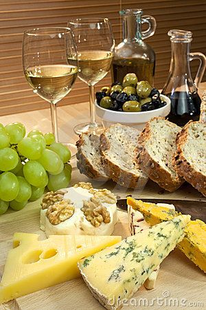 Cheese, White Wine, Grapes, Olives & Bread