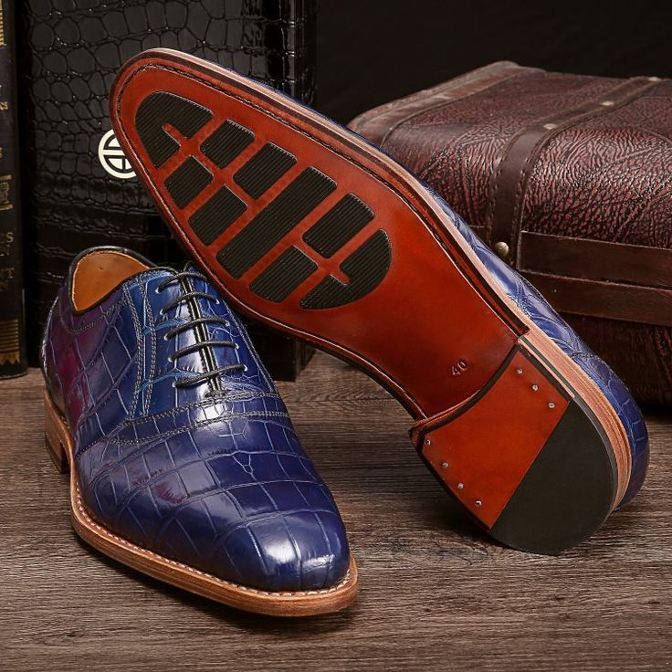 Handcrafted Genuine Alligator Skin Oxford Lace-up Dress Shoes