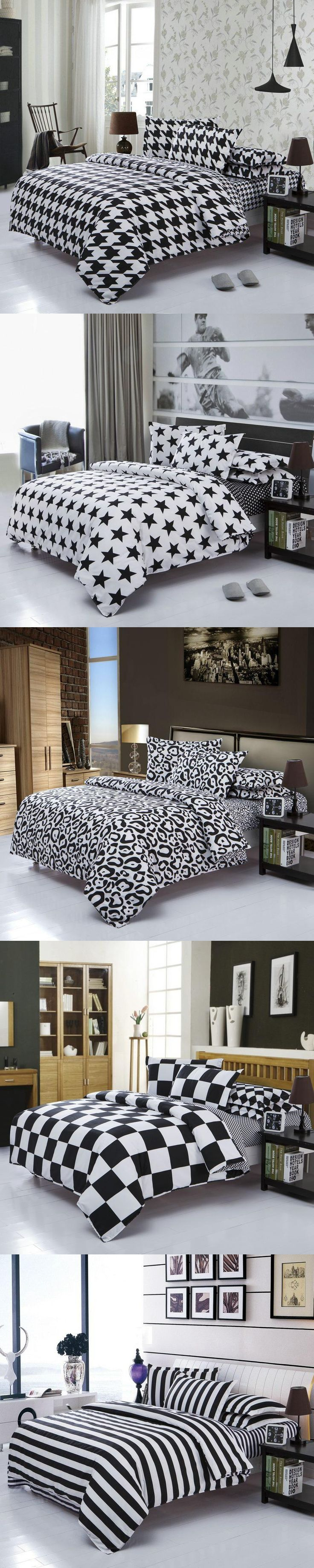 classical black and white cotton bedding set home textile bed linen duvet cover bedclothes twin