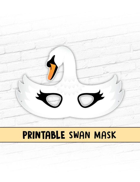 2020 White Swan Handmade Father Christmas Swan Printable Bird Mask White Goose Printable Halloween Party