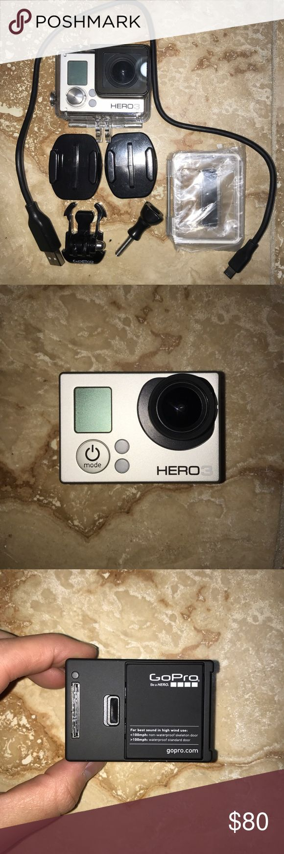 GoPro Hero 3 Camera Silver Edition Gently used GoPro Hero 3 Silver Edition. Works perfectly and comes with charger cable, 1 waterproof housing case, 1 skeleton back door, 2 mounts, 1 mounting buckle, and 1 short thumb screw :) GoPro Other