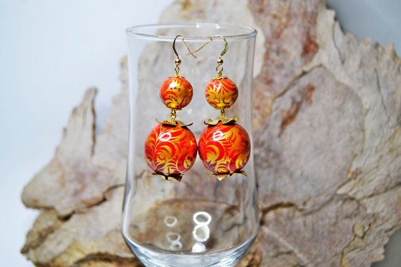 Hand painted Earrings Wooden Beads Russian folk style