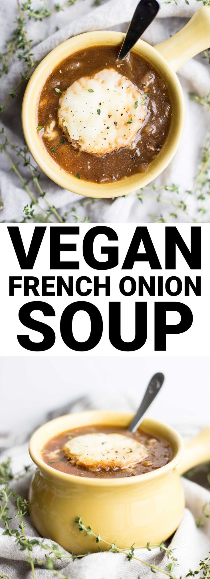 Vegan French Onion Soup: The classic sweet and savory soup...made vegan! Warm, comforting, and perfect for a cold winter night. || fooduzzi.com recipe