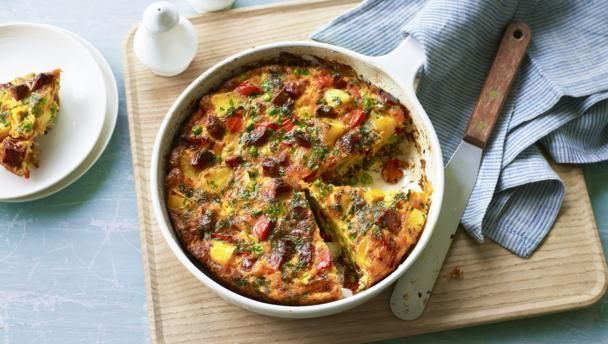 A thick slice of Spanish omelette, packed with chorizo, peas and potatoes, can be enjoyed hot or cold. Keep a few slices handy in the fridge for lunches or a speedy midweek tea.
