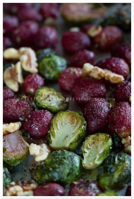 Roasted Brussels Sprouts with Grapes and Walnuts recipe | TeenieCakes.com - a healthy side dish for Fall/Autumn holidays