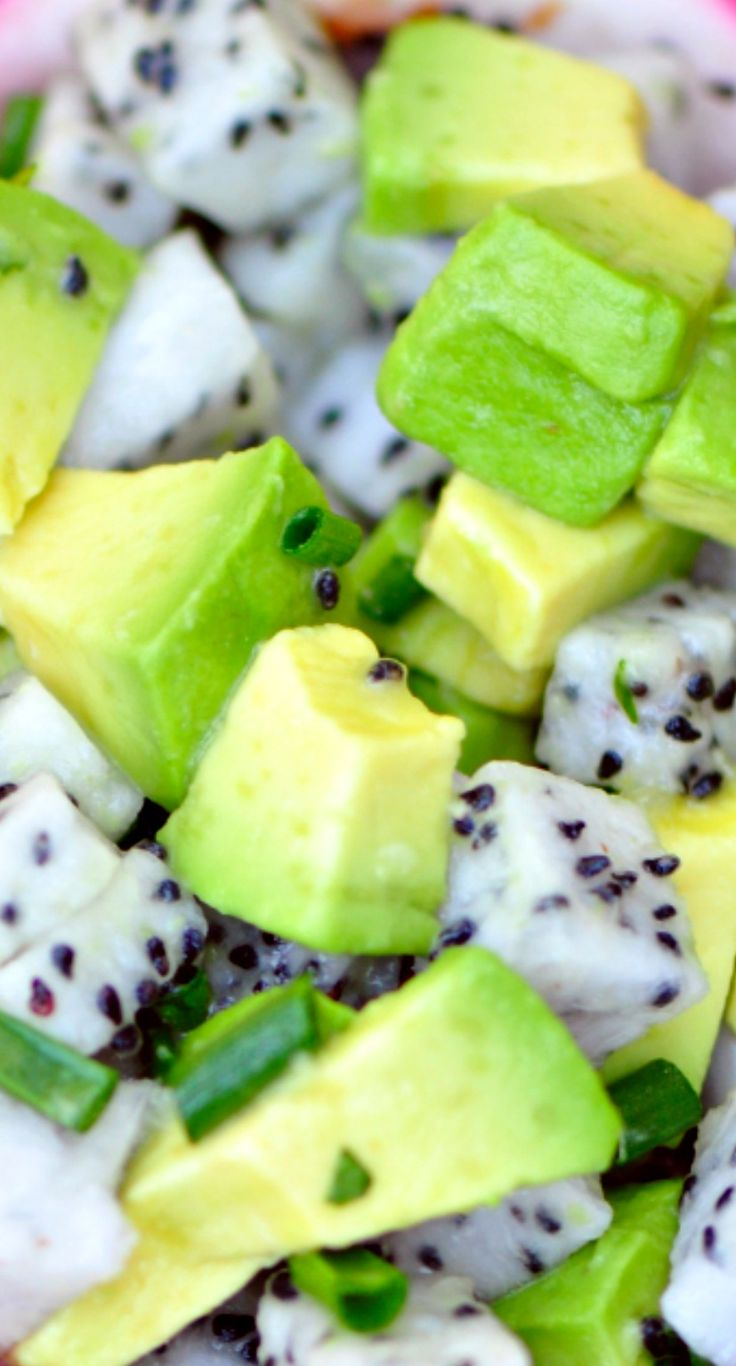 Dragon Fruit and Avocado Salsa Recipe ~ You can use it as a dip, but you could also throw it on top of burgers, pita, tacos, etc.