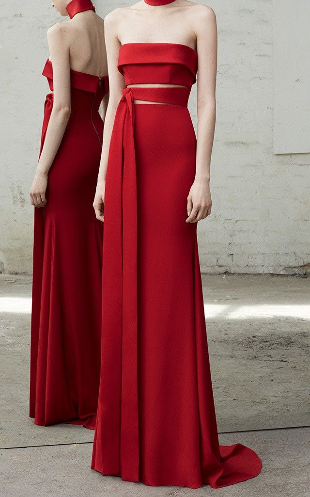 A little edge on the classic red column dress.