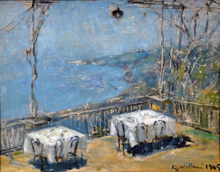 Villani Gennaro ( Napoli 1885 - 1948) Ristorante D'Angelo olio su tavola cm 25x32