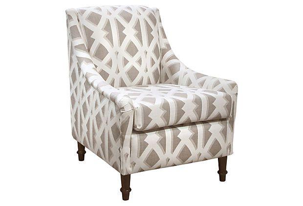 Holmes Armchair, Mushroom/White on OneKingsLane.com