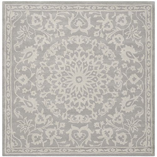 safavieh bella collection bel446a handmade grey and silver wool square area rug 6 feet by