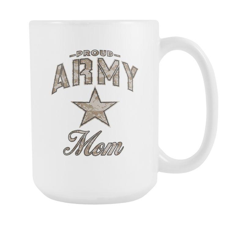 Army Mom Coffee Mug (Camo Design on White Cup)