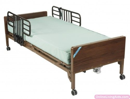 Drive Medical - 15030bv-pkg-1 - Delta Ultra Light Semi Electric Hospital Bed with Half Rails and Innerspring Mattress
