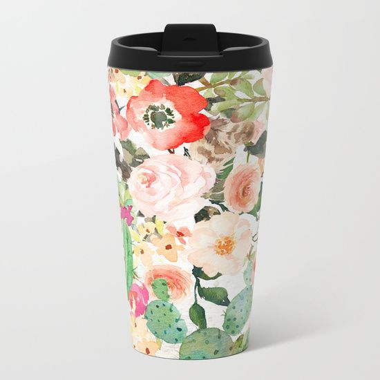 Southwestern Collage Metal Travel Mug - 360-degree wraparound design, our metal travel mugs are crafted with lightweight stainless steel - so they're pretty much indestructible. Plus, they're double-walled to keep drinks hot or cold.