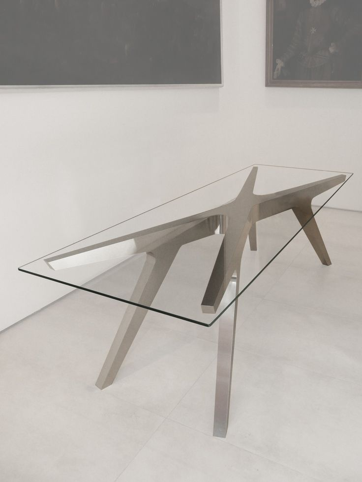 X Table laser cut aluminium and glass table by Gdesign