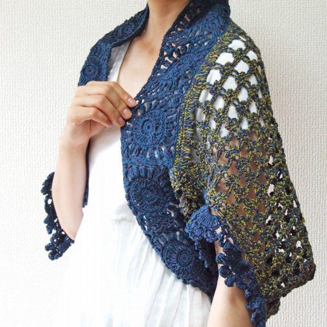 フリル袖のかぎ針編みスクエアボレロ ネイビー - れいれい