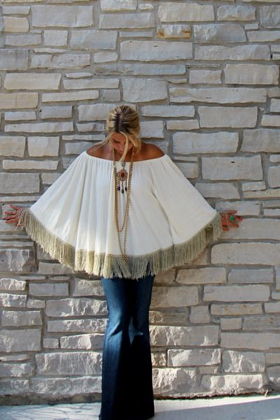 Sexy boho chic style fringed poncho, modern hippie fashion ideas & new Bohemian trends are found by FOLLOWING http://www.pinterest.com/happygolicky/boho-chic-fashion-bohemian-jewelry-boho-wrap-brace/