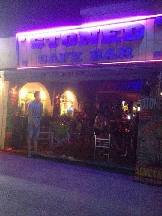 Stoned Cafe Bar in Kavos Corfu Greece at Night