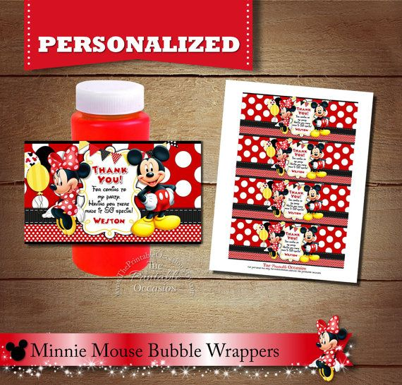 ►CLICK HERE for RED MINNIE MOUSE INVITES & PRINTABLES: https://www.etsy.com/shop/ThePrintableOccasion/search?search_query=Z45&order=date_desc&view_type=gallery&ref=shop_search ¨¨¨¨¨°º©©º°¨¨¨¨¨°º©©º°¨¨¨¨¨°°º©©º°¨¨¨¨¨°º©©º°¨¨¨¨¨°°º©©º°¨¨¨¨¨ Minnie Mouse PRINTABLE Bubble Wrappers DIGITAL PRINTABLE FILE These are great for birthday parties or for summer fun! Your Minnie Mouse bubbles wrappers will come in the form of a high resolutio...