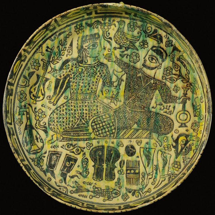 Bowl with Musicians Drinking, 10th Century, Nishapur, Iran. Sotherbys