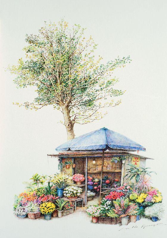 펜화 일러스트 Colored Pencil Drawing