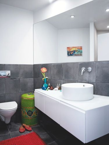 modern gray and white bathroom - wainscot and floor tile same