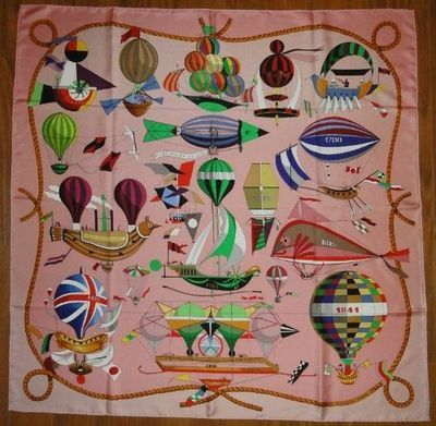 vintage hermes scarf - birds and hot air balloons
