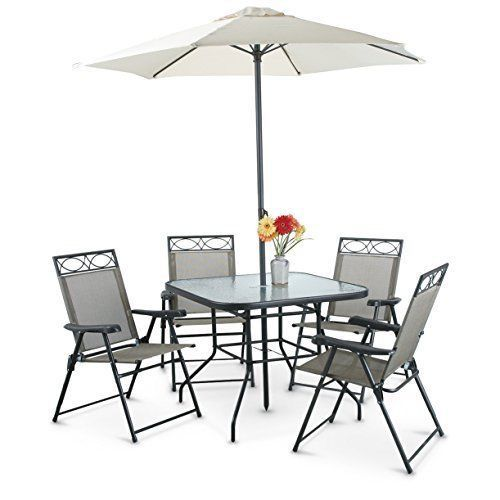 Outdoor Patio Dining Set 6 Piece With 4 Chairs Table And Umbrella Modern Deluxe