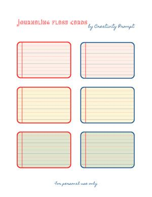 journaling flash cards free printable pdf template