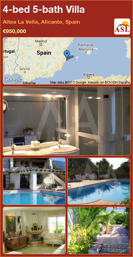 4-bed 5-bath Villa in Altea La Vella, Alicante, Spain ►€950,000 #PropertyForSaleInSpain