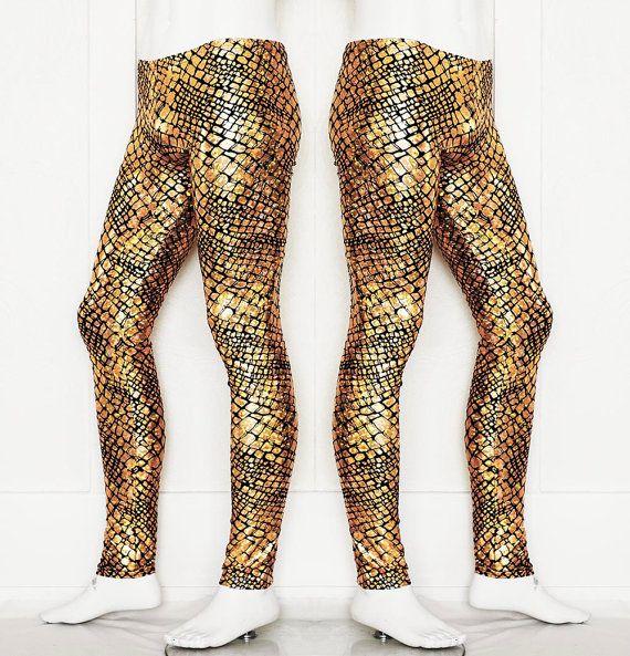 Holographic Gold Snakeskin Spandex Meggings Burning Man Men's Leggings
