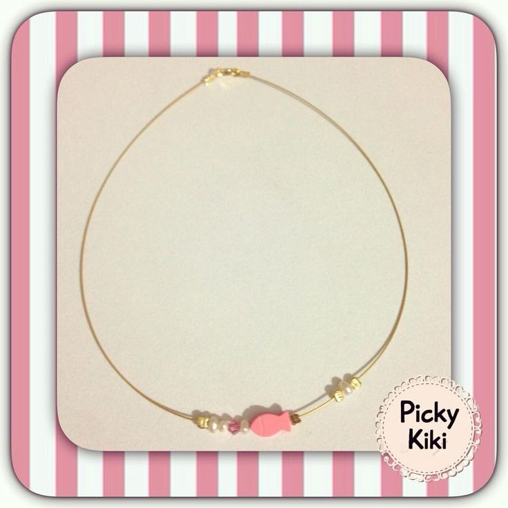 Handmade pendant with pink fish paste of coral, real pearls,pink Swarovski beads  golden rod of high quality (silver 925 gold) | Picky Kiki Accessories