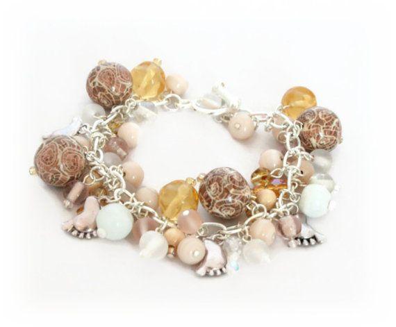 Beach Charm Bracelet Polymer Clay Bracelet Cream by Lottieoflondon, £20.00