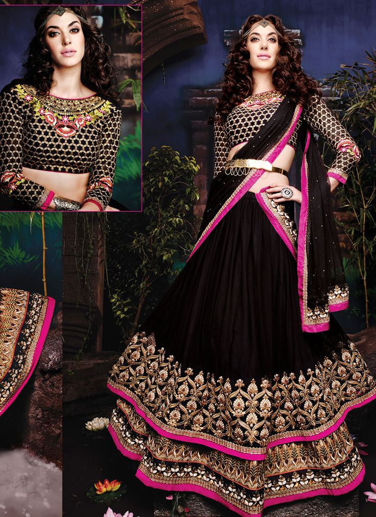 Black wedding wear wholesale black lehenga choli  Grab full catalog online @ http://www.suratwholesaleshop.com/5008-Glorious-Yellow-Georgette-Half-N-Half-Wedding-Wear-Saree?view=catalog&page=2   #wholesalelehengas #lehengas #bulklehengas #cheaplehengas #heavyworklehengas #bridallehengas #suratlehengas #onlinelehengasshopping