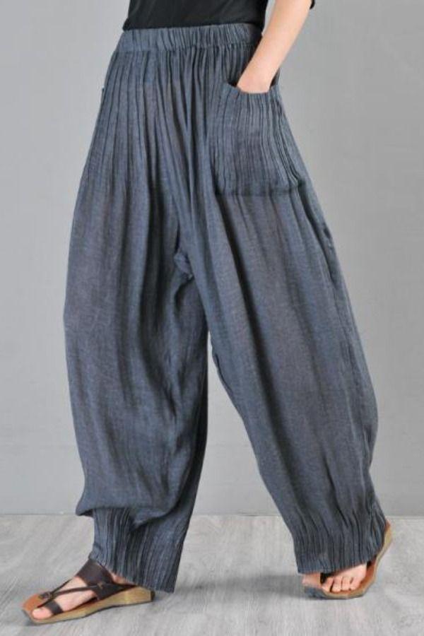 Women Casual Harem Pants Comfy Elastic Waist Full Length Trousers Cropped Pants