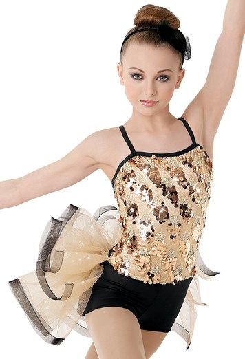 """Gold Sequined Bodice and Attached Black Shorts with Over Exaggerated Glitter Tulle Bustle - """"Razzle Dazzle"""""""
