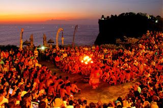 Bali Indonesia Holiday Travels: Spectacular Kecak Dance Show with Sunset View in U...