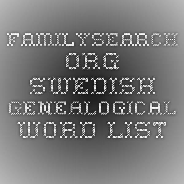 familysearch.org Swedish Genealogical Word List