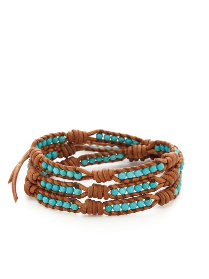 Leather & Bead Multi Wrap Bracelet by Chan Luu at Gilt