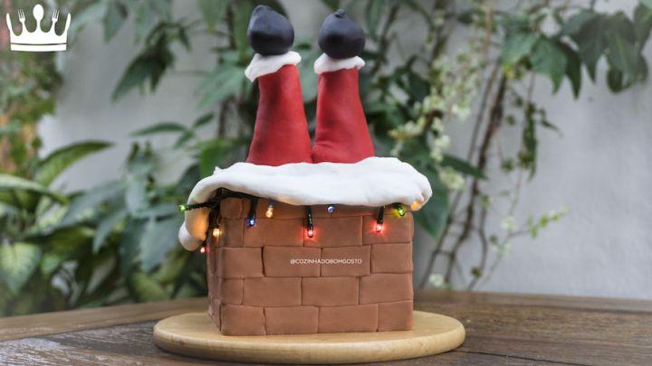 """Bolo """"Papai Noel na Chaminé"""": mais fácil do que você imagina"""