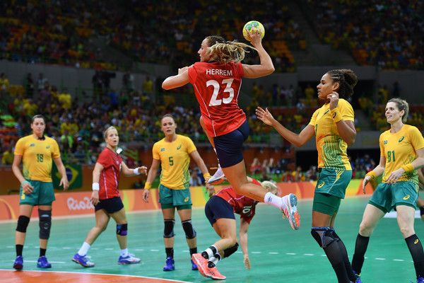 Camilla Herrem of Norway shoots during the women's preliminaries Group A handball match Norway vs Brazil on Day 1 of the Rio 2016 Olympic Games at Future Arena on August 6, 2016 in Rio de Janeiro, Brazil. - Handball - Olympics: Day 1